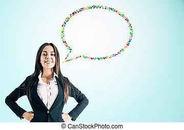 donna d'affari, bolla discorso