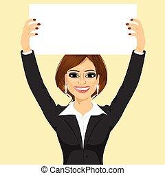 donna d'affari, cartoncino bianco, presa a terra, vuoto