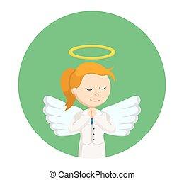 donna d'affari, cerchio, pregare, fondo, angelo
