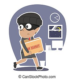 donna d'affari, cima, africano, ladro, segreto, rubare, cartella, documento