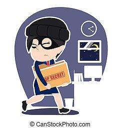 donna d'affari, cima, ladro, segreto, asiatico, rubare, cartella, documento
