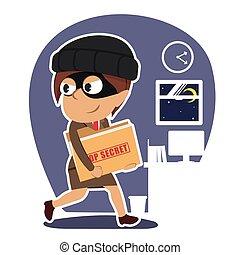 donna d'affari, cima, ladro, segreto, indiano, rubare, cartella, documento