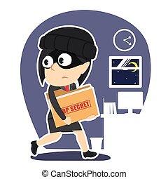 donna d'affari, cima, ladro, segreto, rubare, cartella, documento