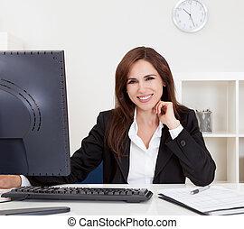 donna d'affari, computer, usando