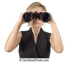donna d'affari, con, binocolo