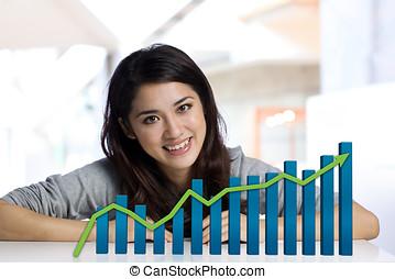 donna d'affari, con, finanza, grafico