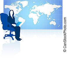 donna d'affari, con, mappa mondo