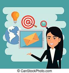 donna d'affari, con, posta elettronica, marketing, icone