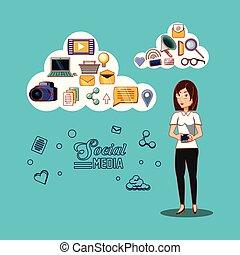 donna d'affari, con, sociale, media, icone