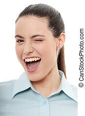 donna d'affari, con, sorriso grande, lampeggiamento