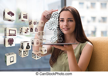 donna d'affari, concetto, lavoro squadra, affari