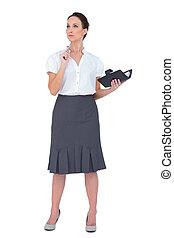 donna d'affari, datebook, malinconico, presa a terra