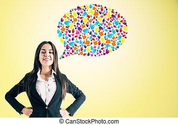 donna d'affari, discorso, attraente, bolla