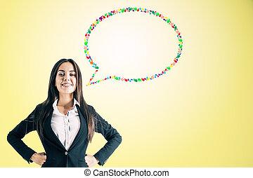 donna d'affari, discorso, carino, bolla