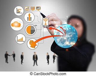 donna d'affari, disegno, tecnologia, rete