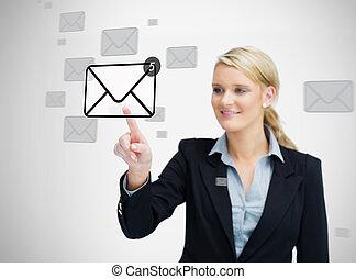 donna d'affari, email, urgente, simbolo