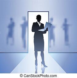 donna d'affari, esecutivo, fuoco, fornire sfondo annebbiato