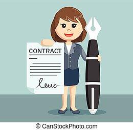donna d'affari, esposizione, contratto