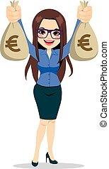 donna d'affari, euro, soldi, presa a terra, borse
