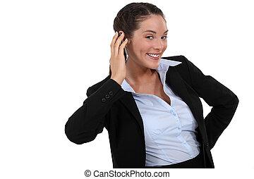 donna d'affari, felice, buono, ricevimento, notizie