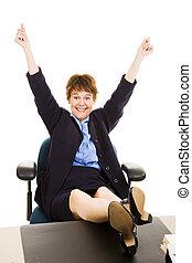 donna d'affari, -, felicissimo, scrivania