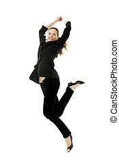 donna d'affari, giovane, saltare, studio, fondo, bianco