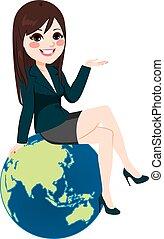 donna d'affari, globo, asiatico, seduta