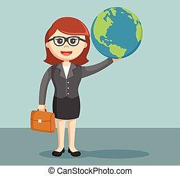 donna d'affari, globo, presa a terra