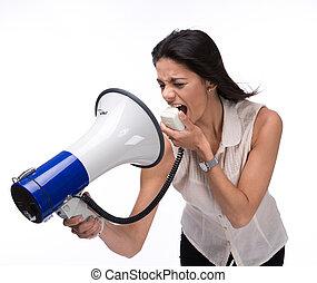 donna d'affari, grida, a, lei stessa, con, megafono
