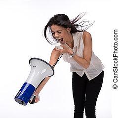 donna d'affari, gridare, a, lei stessa, con, megafono