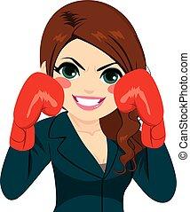 donna d'affari, guanti, combattente