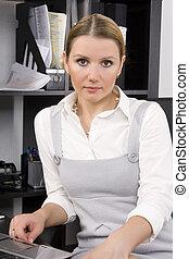 donna d'affari, in, lei, ufficio