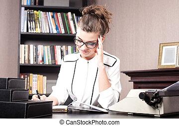 donna d'affari, in, lei, ufficio.