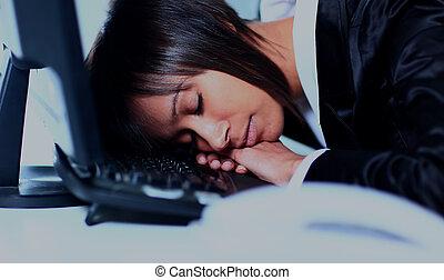 donna d'affari, in pausa, in, uno, ufficio.