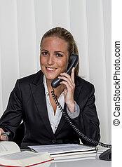 donna d'affari, in, ufficio