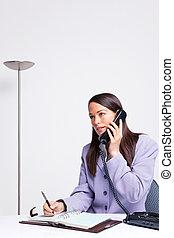 donna d'affari, in, ufficio, telefono
