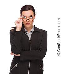 donna d'affari, isolato, corsa, fondo, mescolato, serio, bianco
