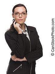 donna d'affari, isolato, corsa, mescolato, professionale, bianco