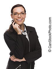 donna d'affari, isolato, fiducioso, corsa, mescolato, bianco
