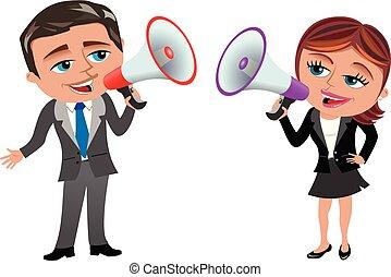 donna d'affari, isolato, presa a terra, uomo affari, megafono, parlante