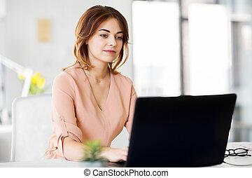 donna d'affari, laptop, ufficio, lavorativo