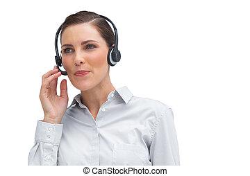 donna d'affari, lavorativo, con, cuffia