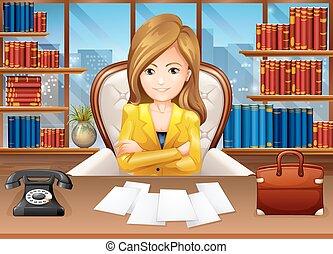 donna d'affari, lavorativo, in, ufficio