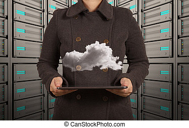 donna d'affari, mano, lavorando, tecnologia moderna, e, nuvola, rete, concetto
