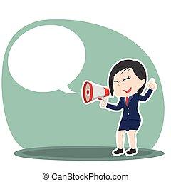 donna d'affari, megafono, callout, asiatico