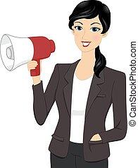 donna d'affari, megafono