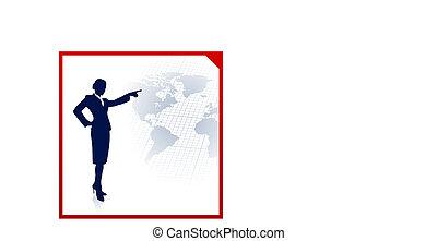 donna d'affari, mondo, fondo, mappa