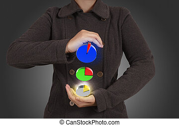 donna d'affari, mostra, virtuale, settori