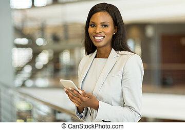 donna d'affari, nero, far male, telefono