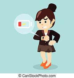 donna d'affari, panico, basso, smartwatch